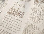 Brown Herb Book Wide 150cm Linen, U2911