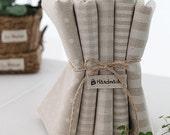 Lovely WHITE check, Each Half yard, stripe and Dots on linen blended set of 5, U3060