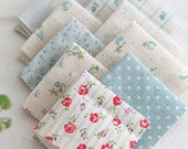 A Yard of lovely Patchwork style Linen in Blue, U3195