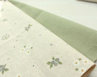 Olivia Series No3 Vintage Green Floral Linen Set of 2