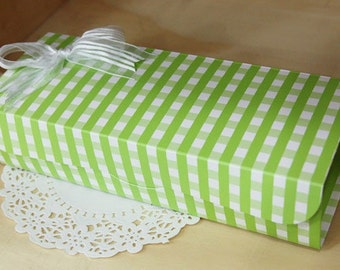 Green Gingham Multi Functions Arched  DIY BOX, 23.6x9cm set of 4, U1050