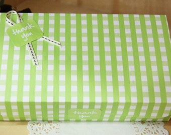Green Gingham Multi Functions Arched DIY BOX, A set of 4, U1052