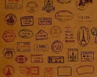 Travel Passport Stamps on Kraft Paper Fabric set of 41, U1240