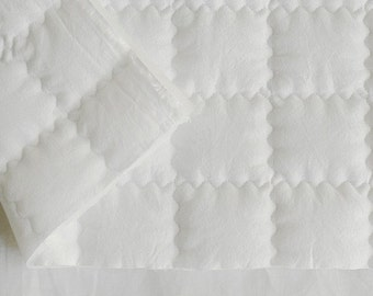 7cm Square Solid Quilting White Ivory Washing Cotton 150cm WIDE, U1830