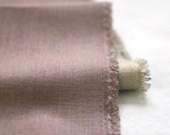 Plain Vintage Violet Linen n Natural, Reverse Linen blended WIDE 138cm, U1994