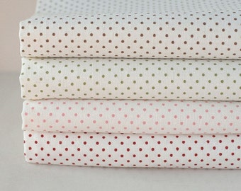 Each Half yard, Lovely White Ivory, Polka Dot Linen, set of 4, U1256
