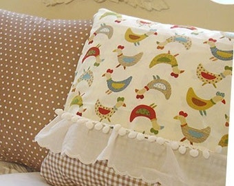 Lovely Colorful Chickens Cotton 2 Yards, U2232