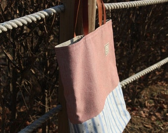 The Marine Red, Linen and Cotton Natural Tote Bag