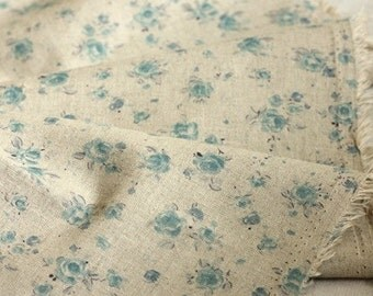 SALE, A Yard of Pretty Blue Petit Roses on Linen blended Wide 140cm, U2178