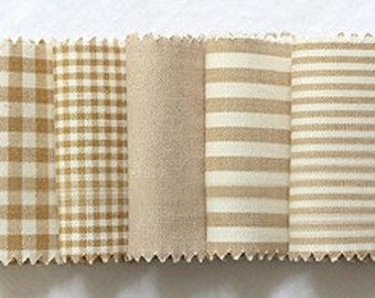 Each Half yard, Vintage Beige Check and Stripe SET of 6, U2187