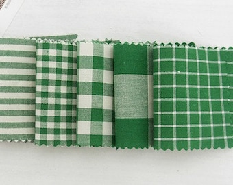 Fresh Green Check and Stripe SET of 5, U2189
