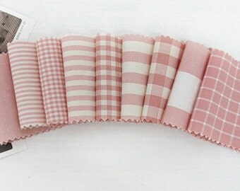 Each Half yard set, Vintage Pink Check and Stripe SET of 9, U2190