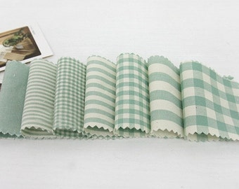 Vintage Mint Check and Stripe SET of 7, U2191