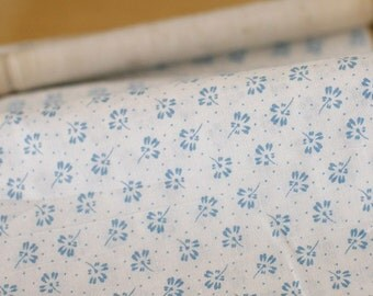 1.5 Yards of Cool Blue Floral on Cotton WIDE 145cm, U1540
