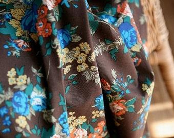 Brown Vintage style Floral ASSA Cotton, U2264