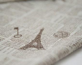 COMEBACK, A Yard of Vintage Lettering and Eiffel on Linen blended WIDE 154cm, U2317