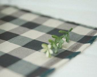 Vintage Deep Green Check Cotton, U2342