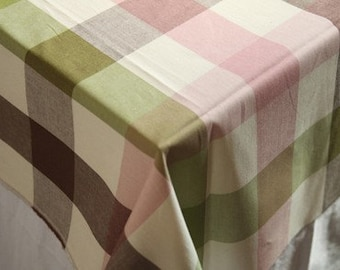 Pink, Brown, and Green Check 6cm Cotton, U2346