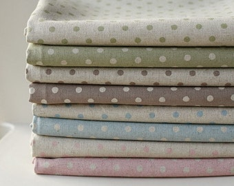 8 Style Natural Polka Dot Linen Fat Quarter set of 8, U1301