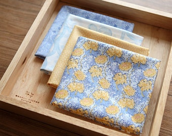 Blue and Yellow Floral Cotton Fat Quarter set of 4, U2437