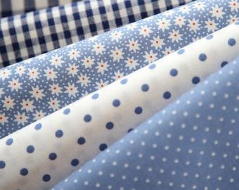 Blue Floral, dots, and check Cotton fat Quarter Set of 5, U2445