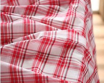 5 yards, White and Red Check Cotton, U2473