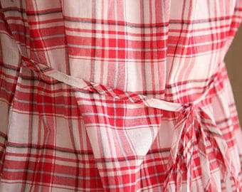 White and Red Check Cotton, U2473