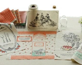 COMEBACK, One Picnic day, Illus Tea Time n Floral on Oxford Linen blended, U2685