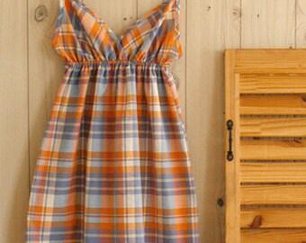 Sale, 3 Yards of Vintage Style Checks Orange and Pale Violet, U2739