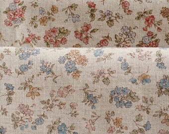 Natural Floral Linen Fat Quarter SET of 2, U2956