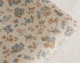 A Yard of Blue Natural Floral Linen Wide 148cm, U2913
