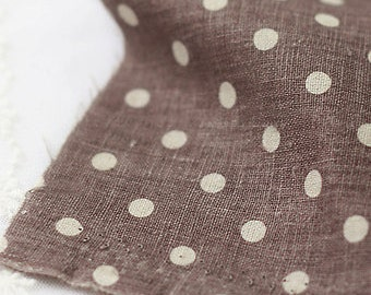 Polka Dots on Brown Linen WIDE 145cm, U2927