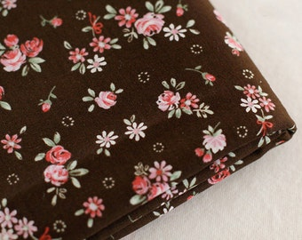3 yards, Garden Floral on Brwon Cotton, U2985