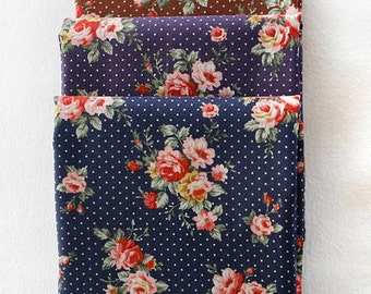 Floral and dots on Cotton WIDE FAT Quarters set of 3, U2989
