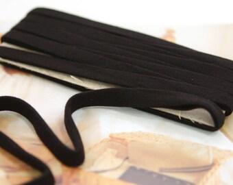 Thin Knit Double fold  Bias, BLACK, U3050