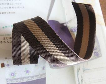 SALE, Bulk, 12 Yards of Brown THIN Waving Begie Stripe Cord, U3055