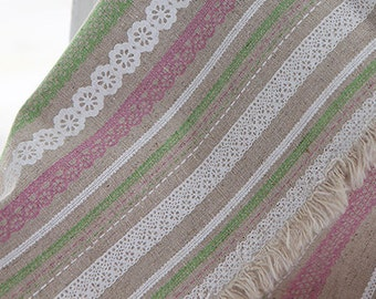 WIDE Fat quarter of Pink and Green Laces on linen blended WIDE 145cm, U3058