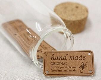 Beige Leather Style Label for handmader, 4 pcs, A set, U3098
