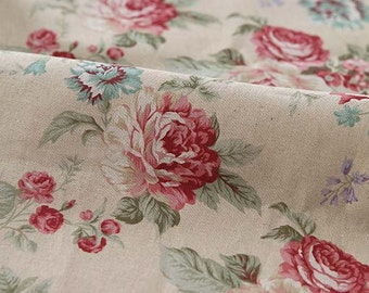 SALE, A Yard of Big Roses on Natural Linen blended Wide 140cm, U3139