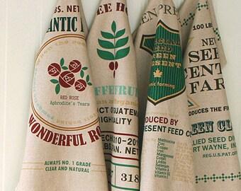 SALE, Vintage Style, Tea Towel Illus 4 in One, on Linen blended WIDE 140cm, U3149