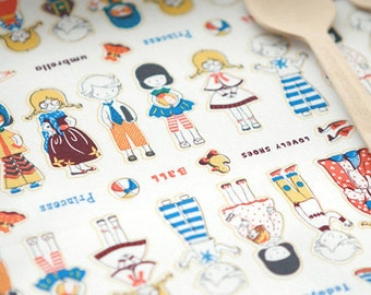 SALE, 2 Yards, Cute Doll Small Illus on cotton WIDE 150cm, U3150