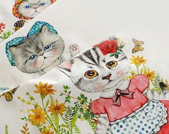 SALE, Cute CATs Illus II on Linen Blended, 3 cuts in a Set, U3179