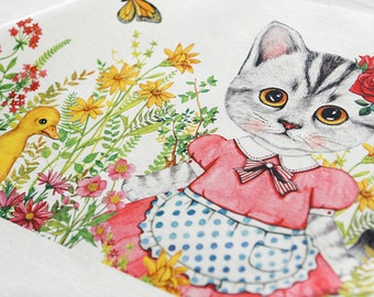 SALE, 2 sets, Cute CATs Illus II on Linen Blended, 3 cuts in a Set, U3179