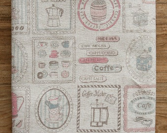 Pink Coffee Illus on linen, 3204