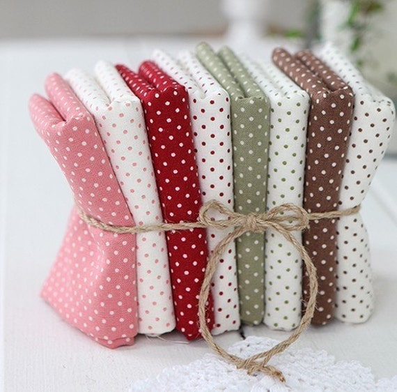 Lovely Polka Dot Linen blended Fat Eighth set of 8, U1257