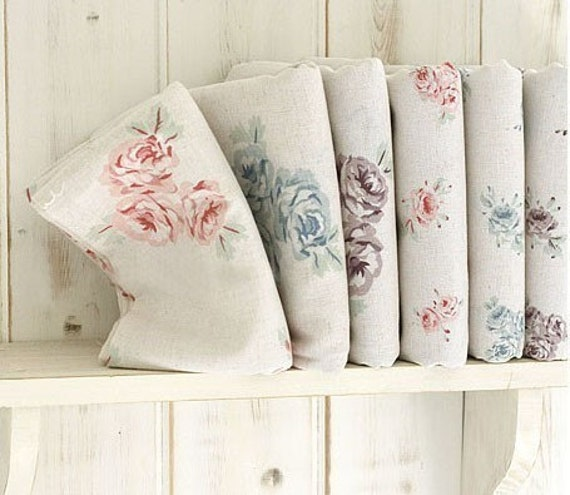 Romantic Shabby Floral Linen Fat Quarter Set of 6, U1070
