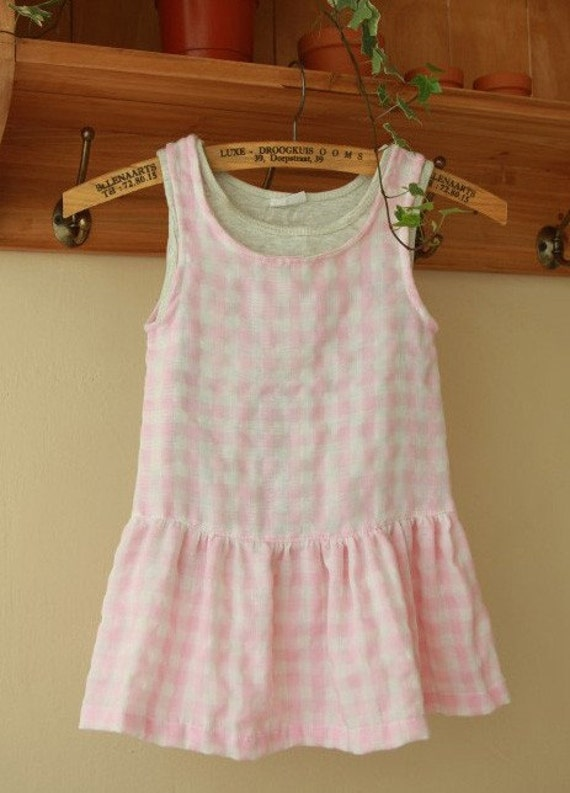 SALE, PINK Reverse Check and Gingham Double Gauze Wide 150cm, U2395