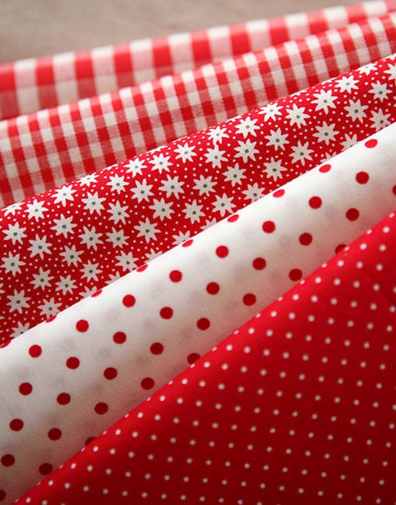 Vivid RED Floral, dots, and check Cotton, U2439