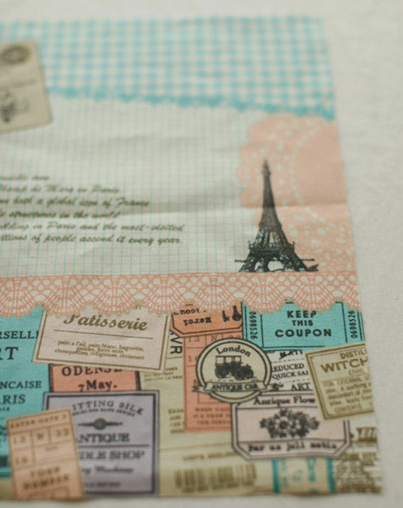 Collages Illus No.2, Eiffel with stamp on Linen Oxford, U2769