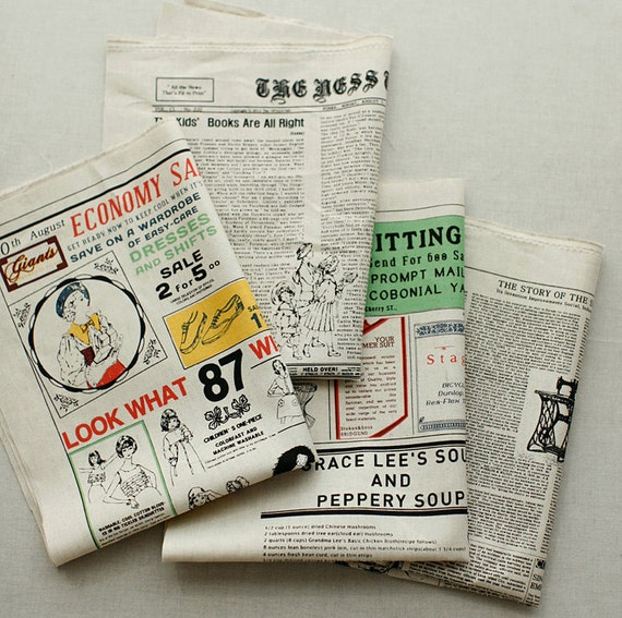 4 News Illus on Oxford Linen, U2864